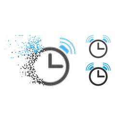 Disappearing pixelated halftone alarm clock icon vector