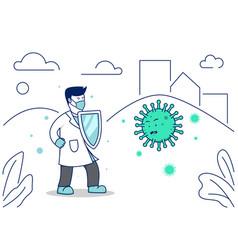 doctor fight coronavirus corona covid-19 pandemic vector image
