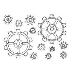 drawing set cogwheels or gearwheels or vector image