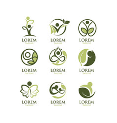 Eco people logo set vector