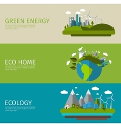 Ecology Flat Banner Set vector image
