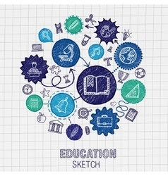 Education hand drawing connected icons vector