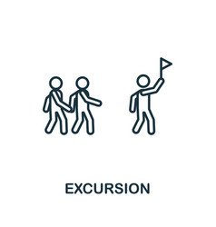 excursion outline icon thin line concept element vector image