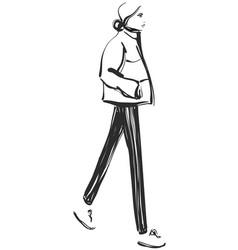 Fashion models sketch cartoon girl vector