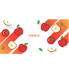 Fresh apple fruit background in paper art style vector
