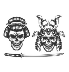 Geisha and samurai concept with skull vector