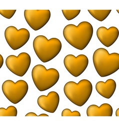 Golden love seamless background of heart bubbles vector image