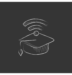 Graduation cap with wi-fi sign Drawn in chalk vector