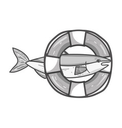 Grayscale fish with life buoy object design vector