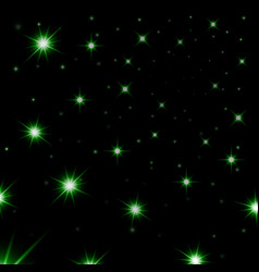 green stars black night sky background abstract vector image