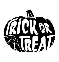 halloween trick or treat black pumpkin with spider vector image