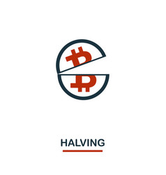 halving icon creative two colors design from vector image