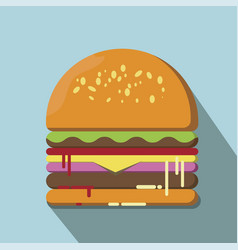 hamburger flat style vector image