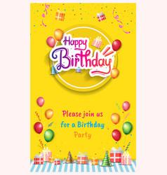 Happy birthday invitation design with circle vector