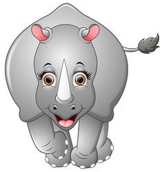 happy rhino cartoon isolated on white background vector image
