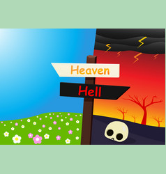 Heaven and hell landscape with signpost art vector