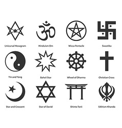 Icon set of world Religious symbols vector image