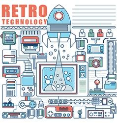 infographics elements concept retro technology vector image