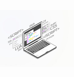 Isometric software development vector