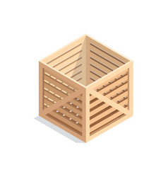 isometric wooden box vector image