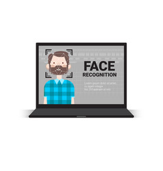 laptop computer scanning user male face vector image