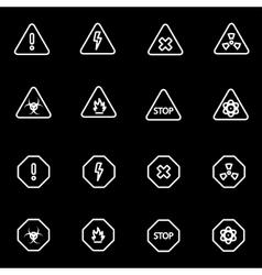 Line danger icon set vector