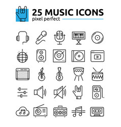 Line music icons set vector