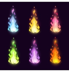 magic cartoon fairy colorful fire set vector image