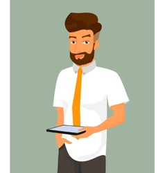 Man holds a tablet pc in his hand vector
