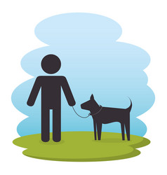 man on park with dog silhouettes vector image