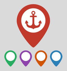 map pointer with anchor icon on grey background vector image