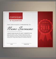Modern clean red and white certificate design vector