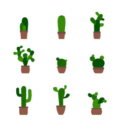 monochrome icons with cactus vector image vector image