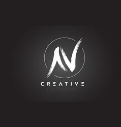 N brush letter logo design artistic handwritten vector