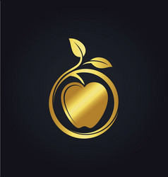 Organic fruit apple nature gold logo vector