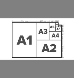 paper sizes a1 a2 a3 a4 a5 a6 a7 a8 vector image