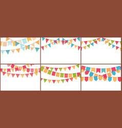 party bunting birthday flags banner color vector image