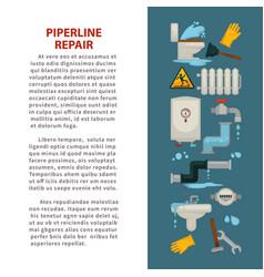 pipeline repair house plumbing repairing works vector image