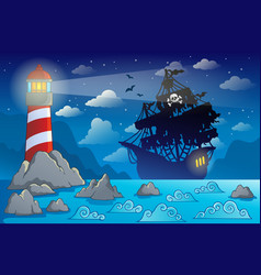Pirate ship silhouette near coast 1 vector