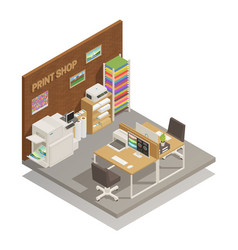 Print shop interior isometric composition vector