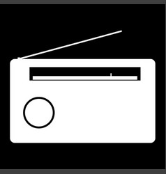 Radio the white color icon vector