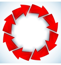 Red arrows closed circle vector image