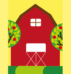 Red farm barn wooden building and trees fruits vector