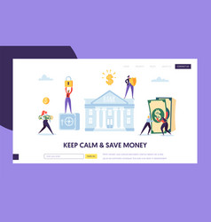 safe bank deposit in cash landing page money vector image