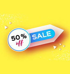 Sale banner in paper cut style origami discount vector