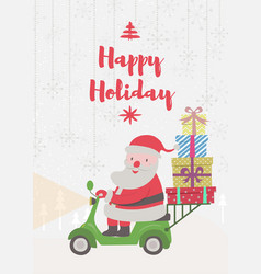 santa claus riding on scooter vector image