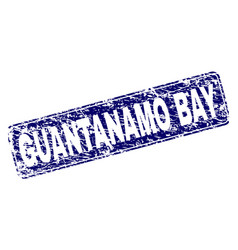 Scratched guantanamo bay framed rounded rectangle vector