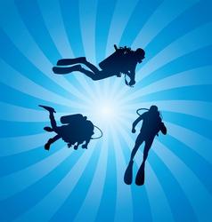 Scuba divers underwater vector
