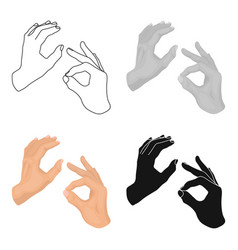 Sign language icon in cartoon style isolated on vector