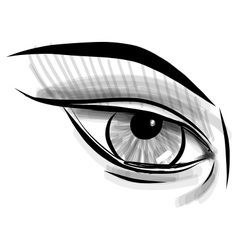 Sketch eye childish doodle style vector